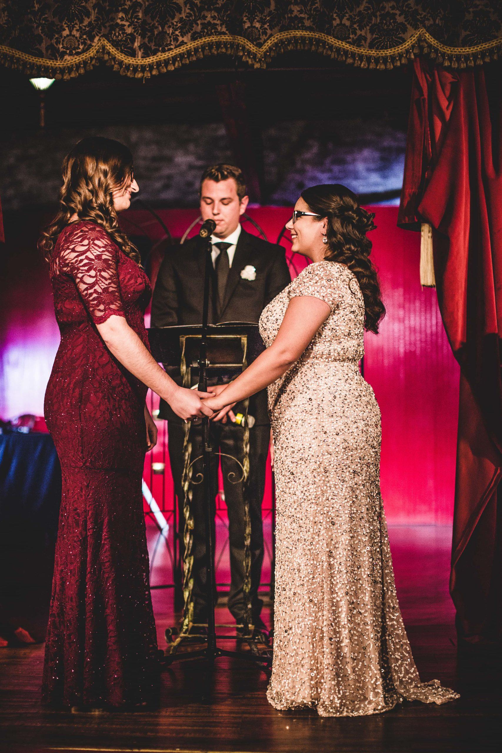 Atlanta Wedding Photographers Paris on Ponce Red Room LGBTQ Wedding Ceremony